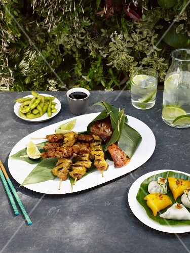 Satay skewers, soya beans, soy sauce and lime water for a picnic