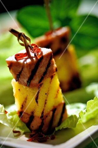 Grilled pineapple and ham kebabs
