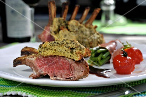 Grilled rack of lamb with sides