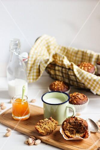 stacked pistachio and hazelnut muffins