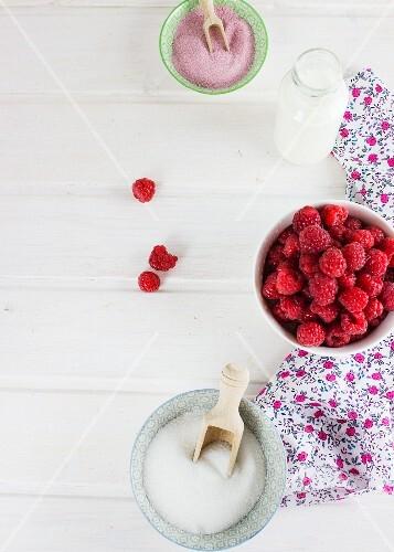 Raspberries and sugar