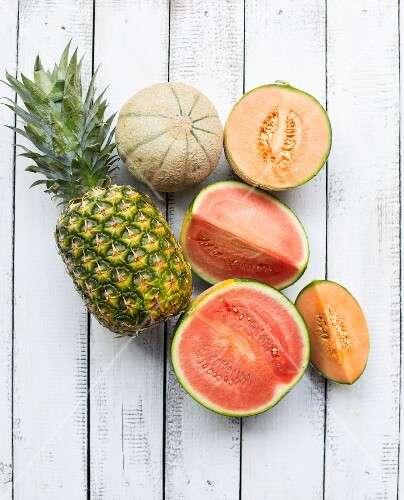 Pineapple and various melons