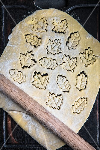 Rolled out biscuit dough with leaf-shaped biscuits cut out of it