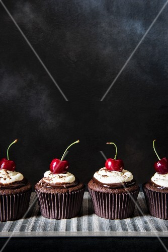 Black Forest cherry cupcakes with ganache, cream and cherries