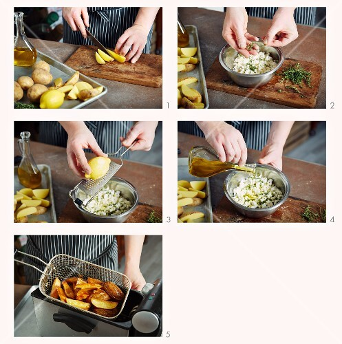 Fried potato wedges with feta cheese and thyme being made