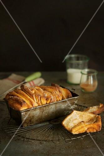 Cinnamon sugar bread in a loaf tin