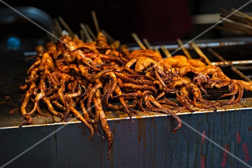 Deep fried squid at a market (Asia)