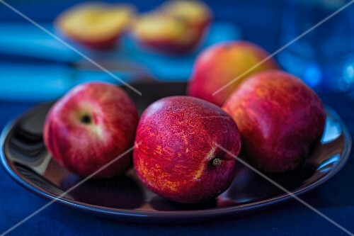 A plate of fresh nectarines