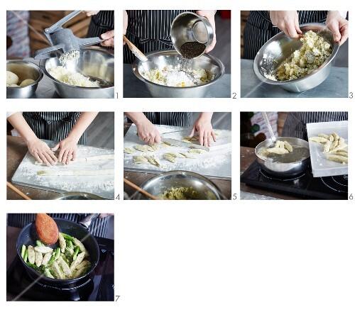 Chia gnocchi being made