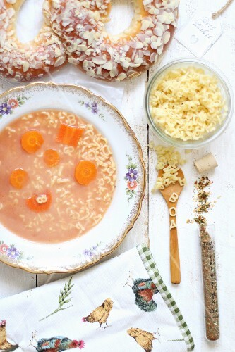 Sieved tomato soup with alphabet pasta