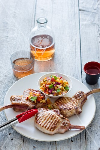 Grilled pork chops with nectarine salsa