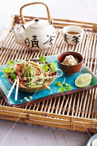 Vegetable salad and tea (Asia)
