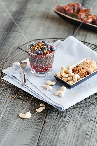 Chia pudding with berries and nuts