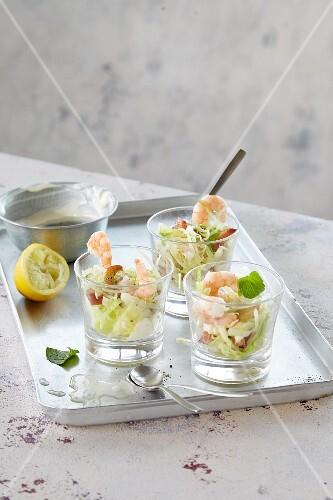 Three prawn cocktails
