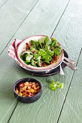 Lamb's lettuce with rhubarb chutney