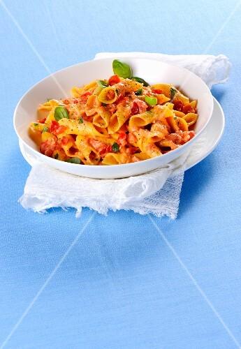 Garganelli cremosi al pomodoro e crescenza (pasta in a creamy tomato and cheese sauce, Italy)