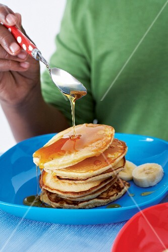 Canadian-style pancakes with maple syrup