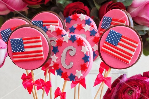 Pink lollies with American stars and stripes
