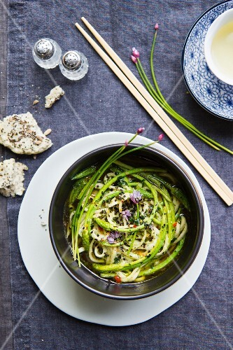 Egg noodles with wild asparagus and black sesame seeds