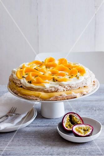 Mango Pavlova with passion fruit