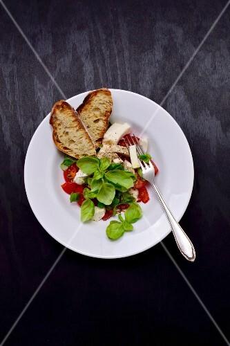 Tomato mozzarella salad with crispy bread
