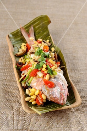 Oriental style gilthead sea bream with soya beans