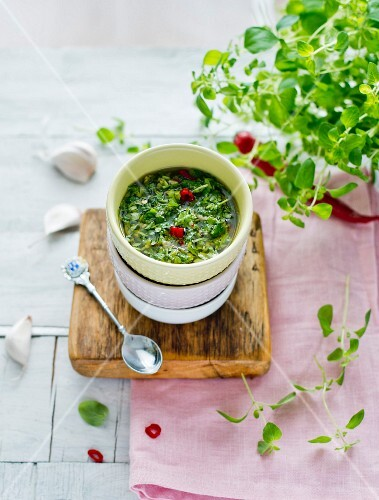 A bowl of chimichurri (Argentinian herb sauce)