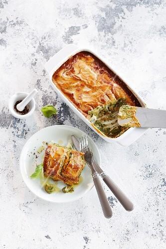 Courgette lasagne with pesto