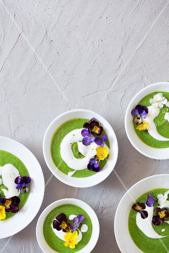 Cream of green pea soup with sour cream and edible flowers