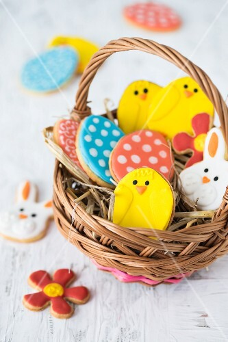 Colourful Easter biscuits in a basket