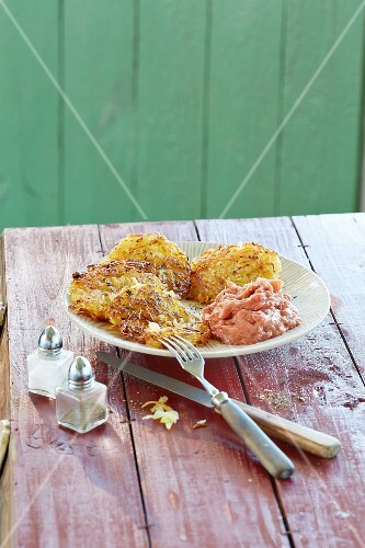 Potato fritters with rhubarb purée