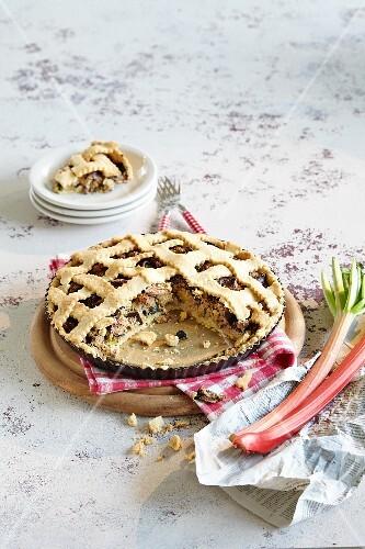 Rhubarb and vegetable lattice tart, sliced
