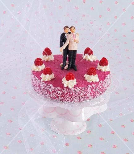 A gay raspberry wedding cake