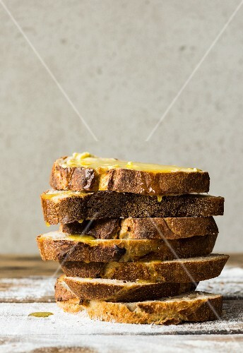 A stack of sliced sourdough bread