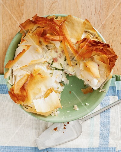 Filo pastry pie with cheese and bacon