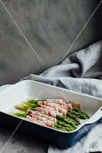 Roasted asparagus wrapped in bacon
