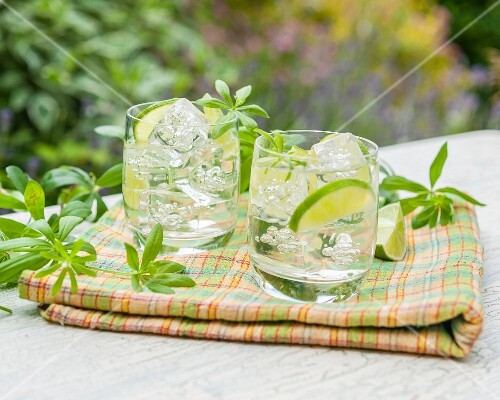 Woodruff and May punch on a garden table