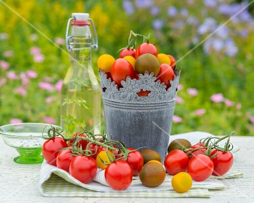 Heirloom tomatoes on a garden table