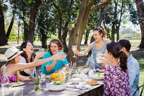 A group of happy friends eating together in a park
