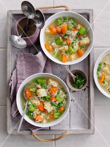 Rice soup with diced vegetables