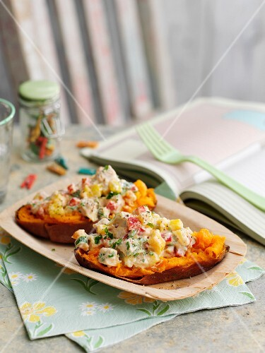 Sweet potato filled with Coronation chicken