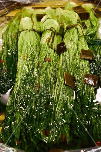 Vegetables at the Nishiki market in Kyoto, Japan