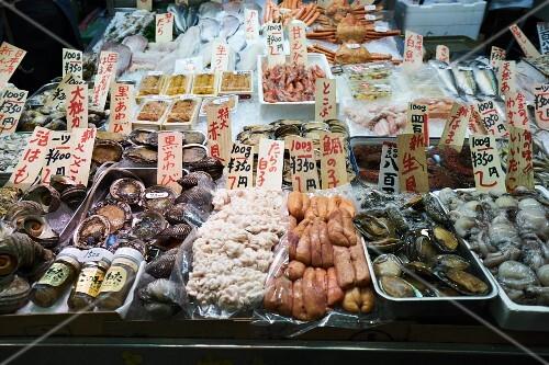 Shellfish at the Nishiki market in Kyoto, Japan