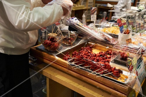 Squid at Nishiki market in Kyoto, Japan