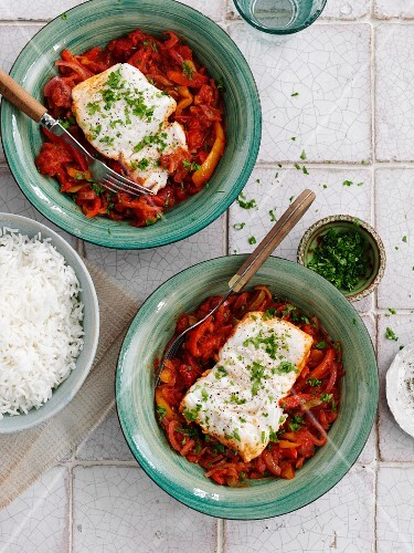 Basque cod with a pepper medley and a side of rice