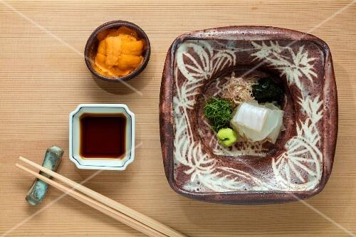 Kaiseki menu: olive flounder, Japanese halibut, hiragame and a sea urchin