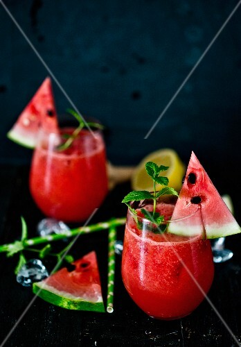 Glasses of watermelon lemonade