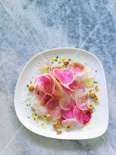 Watermelon radish and hazelnut salad