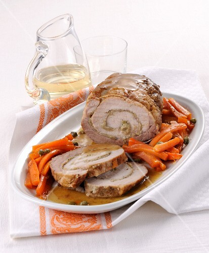 Arrosto di maiale ai capperi (roast pork filled with capers, Italy)