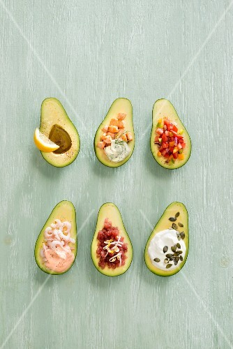 Avocados with various fillings